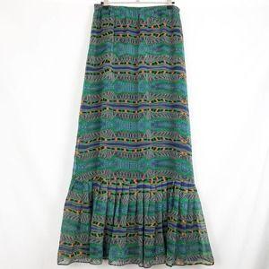BB Dakota Colorful Tribal Long Maxi Ruffle Skirt M